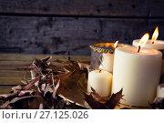 Купить «Lit candles and dry leaves on table», фото № 27125026, снято 8 июня 2017 г. (c) Wavebreak Media / Фотобанк Лори