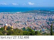 Panoramic view of Barcelona from Tibidabo, Spain, фото № 27132498, снято 13 июля 2016 г. (c) Papoyan Irina / Фотобанк Лори