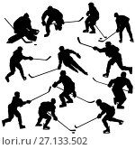 Купить «Ice hockey players silhouettes set», иллюстрация № 27133502 (c) Сергей Лаврентьев / Фотобанк Лори