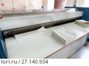 Купить «Automatic laundry ironing line», фото № 27140934, снято 14 сентября 2017 г. (c) Евгений Ткачёв / Фотобанк Лори