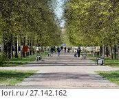 Купить «Пешеходная дорожка на Измайловском бульваре. Район Измайлово. Москва», эксклюзивное фото № 27142162, снято 7 мая 2017 г. (c) lana1501 / Фотобанк Лори