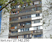 Семнадцатиэтажный одноподъездный панельный жилой дом серии КМС-101, построены в 1973 году. Измайловский бульвар, 16. Район Измайлово. Москва (2017 год). Стоковое фото, фотограф lana1501 / Фотобанк Лори