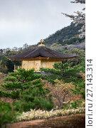 Купить «Китайский феникс на крыше Золотого павильона (Kinkaku-ji). Киото, район Кита, Япония», фото № 27143314, снято 12 апреля 2013 г. (c) Кекяляйнен Андрей / Фотобанк Лори