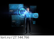 Купить «businessman working with charts on virtual screen», фото № 27144766, снято 9 марта 2017 г. (c) Syda Productions / Фотобанк Лори
