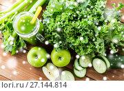 Купить «close up of jug with green juice and vegetables», фото № 27144814, снято 5 августа 2016 г. (c) Syda Productions / Фотобанк Лори