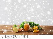 Купить «glass jug of carrot juice, fruits and vegetables», фото № 27144818, снято 5 августа 2016 г. (c) Syda Productions / Фотобанк Лори