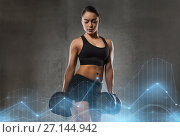 Купить «young woman flexing muscles with dumbbells in gym», фото № 27144942, снято 12 декабря 2015 г. (c) Syda Productions / Фотобанк Лори