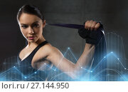 Купить «woman with expander exercising in gym», фото № 27144950, снято 12 декабря 2015 г. (c) Syda Productions / Фотобанк Лори