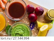 vegetable puree or baby food in glass bowls. Стоковое фото, фотограф Syda Productions / Фотобанк Лори