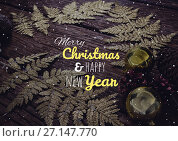 Купить «merry Christmas and happy new year text on snow background», фото № 27147770, снято 20 февраля 2018 г. (c) Wavebreak Media / Фотобанк Лори