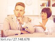 Купить «woman tries to persuade man», фото № 27148678, снято 16 августа 2018 г. (c) Яков Филимонов / Фотобанк Лори