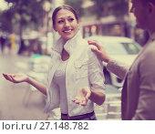 Guy acquainted with girl. Стоковое фото, фотограф Яков Филимонов / Фотобанк Лори