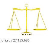 Купить «Balance scale over white background», иллюстрация № 27155686 (c) Кирилл Черезов / Фотобанк Лори