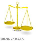 Купить «Balance scale over white background», иллюстрация № 27155870 (c) Кирилл Черезов / Фотобанк Лори