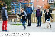 Купить «Happy children skipping on jumping elastic rope», фото № 27157110, снято 14 декабря 2017 г. (c) Яков Филимонов / Фотобанк Лори