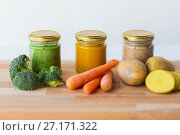 Купить «vegetable puree or baby food in glass jars», фото № 27171322, снято 21 февраля 2017 г. (c) Syda Productions / Фотобанк Лори