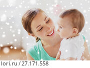 Купить «happy young mother with little baby at home», фото № 27171558, снято 12 июля 2016 г. (c) Syda Productions / Фотобанк Лори