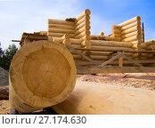 Бревно на переднем плане при постройке деревянного сруба. Стоковое фото, фотограф Вячеслав Палес / Фотобанк Лори