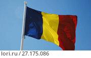 Купить «Romanian flag is national symbol of country.», видеоролик № 27175086, снято 6 октября 2017 г. (c) Яков Филимонов / Фотобанк Лори