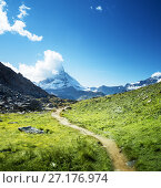 Купить «ground way to Matterhorn peak, Switzerland», фото № 27176974, снято 11 сентября 2017 г. (c) Iakov Kalinin / Фотобанк Лори