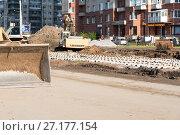 Купить «Реконструкция трамвайных путей на проспекте Наставников. Санкт-Петербург», эксклюзивное фото № 27177154, снято 21 октября 2017 г. (c) Александр Щепин / Фотобанк Лори