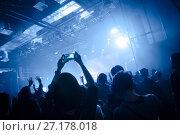 Купить «girl holding a smartphone during a concert», фото № 27178018, снято 5 февраля 2016 г. (c) Ольга Визави / Фотобанк Лори