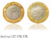 Купить «Coin five dinars. Tunisian Republic», фото № 27178178, снято 28 апреля 2016 г. (c) Евгений Ткачёв / Фотобанк Лори