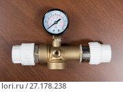 Купить «Plumbing equipment. Manometer», фото № 27178238, снято 13 мая 2016 г. (c) Евгений Ткачёв / Фотобанк Лори