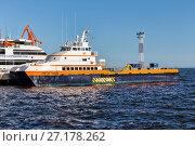 Купить «Sea trading port. Baku. The Republic of Azerbaijan», фото № 27178262, снято 22 сентября 2015 г. (c) Евгений Ткачёв / Фотобанк Лори