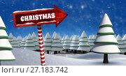 Купить «Christmas text and Wooden signpost in Christmas Winter landscape with trees», фото № 27183742, снято 22 февраля 2019 г. (c) Wavebreak Media / Фотобанк Лори