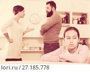 Купить «Parents arguing at home», фото № 27185778, снято 19 февраля 2019 г. (c) Яков Филимонов / Фотобанк Лори
