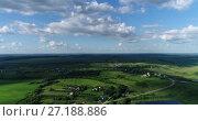 Купить «View from quadrocopter to village with river and pond in Russia», видеоролик № 27188886, снято 20 августа 2019 г. (c) Володина Ольга / Фотобанк Лори
