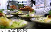 Купить «Male chef garnishing appetizer plates at order station 4k», видеоролик № 27190506, снято 22 июля 2018 г. (c) Wavebreak Media / Фотобанк Лори