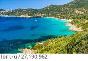 Купить «Coastal landscape of South Corsica. Small azure bay with sailing yachts, Piana, France», фото № 27190962, снято 5 июля 2015 г. (c) EugeneSergeev / Фотобанк Лори