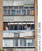 Купить «Четырнадцатиэтажный одноподъездный кирпичный жилой дом серии «башня Вулыха», построен в 1969 году. Измайловский проспект, 55. Район Измайлово. Город Москва», эксклюзивное фото № 27193866, снято 6 мая 2017 г. (c) lana1501 / Фотобанк Лори
