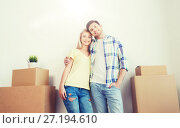 Купить «smiling couple with big boxes moving to new home», фото № 27194610, снято 25 февраля 2016 г. (c) Syda Productions / Фотобанк Лори