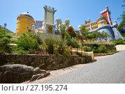 Купить «The Pena Palace. Sintra. Portugal», фото № 27195274, снято 3 июля 2016 г. (c) Serg Zastavkin / Фотобанк Лори