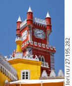 Купить «Clock tower of Pena Palace. Sintra. Portugal», фото № 27195282, снято 3 июля 2016 г. (c) Serg Zastavkin / Фотобанк Лори