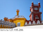 Купить «The clock tower and the curtain walls of Pena Palace. Sintra. Portugal», фото № 27195286, снято 3 июля 2016 г. (c) Serg Zastavkin / Фотобанк Лори