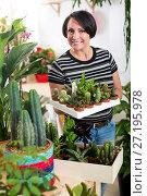 Купить «Woman holding a tray with cactuses», фото № 27195978, снято 12 октября 2018 г. (c) Яков Филимонов / Фотобанк Лори