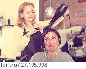 Купить «Hairdress master is combing and drying hair to smiling woman», фото № 27195998, снято 7 марта 2017 г. (c) Яков Филимонов / Фотобанк Лори