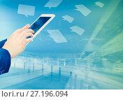 Woman pushing finger on the touchpad. Стоковое фото, фотограф Яков Филимонов / Фотобанк Лори