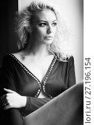 Boudoir photo of sexy girl wearing stylish black lingerie underwear. Стоковое фото, фотограф Podvysotskiy Roman / Фотобанк Лори