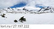 Купить «Панорама: горный зимний пейзаж Камчатки», фото № 27197222, снято 28 мая 2017 г. (c) А. А. Пирагис / Фотобанк Лори