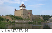 Купить «Замок Германа крупным планом августовским днем. Нарва, Эстония», видеоролик № 27197486, снято 12 августа 2017 г. (c) Виктор Карасев / Фотобанк Лори