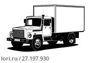 Truck outline template isolated on white. Стоковая иллюстрация, иллюстратор Александр Володин / Фотобанк Лори