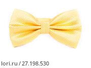 Купить «Bright yellow tie bow in front of white background», фото № 27198530, снято 19 июня 2015 г. (c) Артём Зайцев / Фотобанк Лори