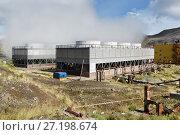 Купить «Вентиляторные градирни, Мутновская геотермальная электростанция на Камчатке», фото № 27198674, снято 17 сентября 2016 г. (c) А. А. Пирагис / Фотобанк Лори
