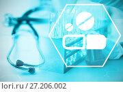Купить «Composite image of digital background with medication sign », фото № 27206002, снято 27 мая 2018 г. (c) Wavebreak Media / Фотобанк Лори