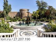 Купить «Philharmonic Fountain Park near the Old City in Baku, Azerbaijan», фото № 27207190, снято 23 сентября 2015 г. (c) Евгений Ткачёв / Фотобанк Лори